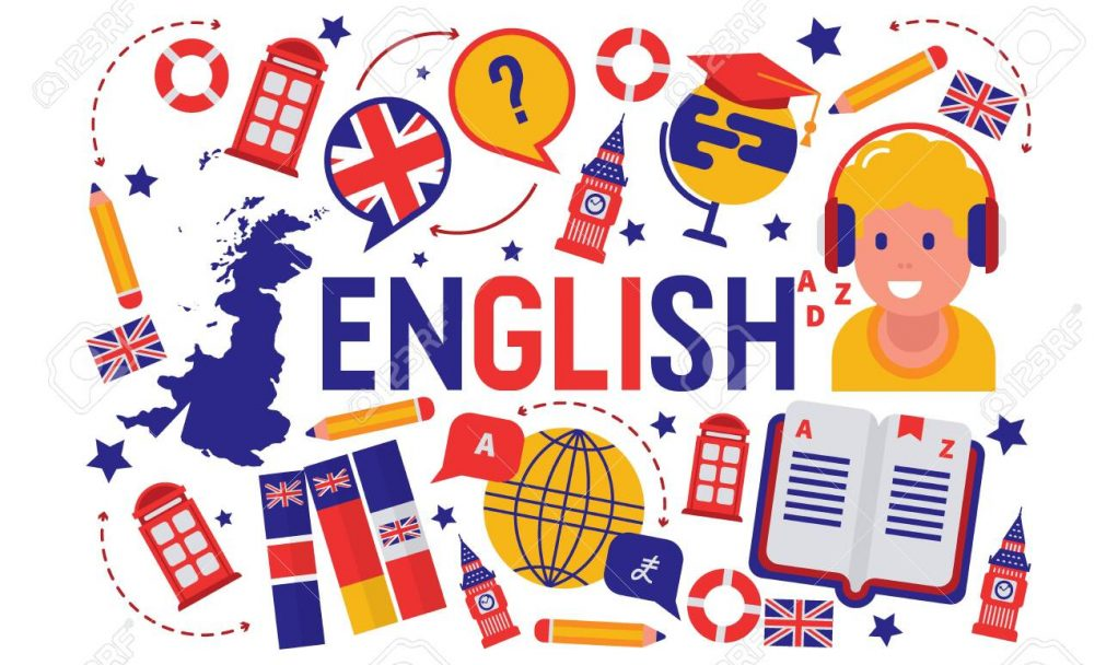British english language learning class vector illustration. Brittish flag logo, England, dictionary, Big Ben, girls cartoon character in earphones, english language exchange program.